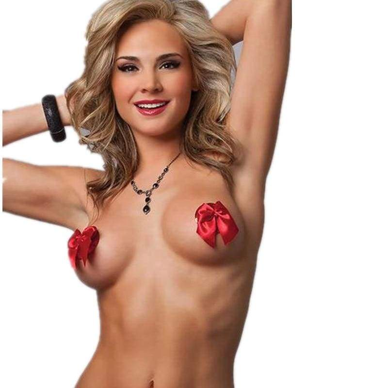 Red Bowknot Nipple Covers Silicone Nipple Pasties Sex Toy 2PCS