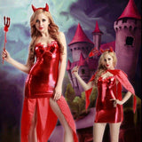 Red Demon - Devil Role Play Costume Cosplay PU Leather Dress