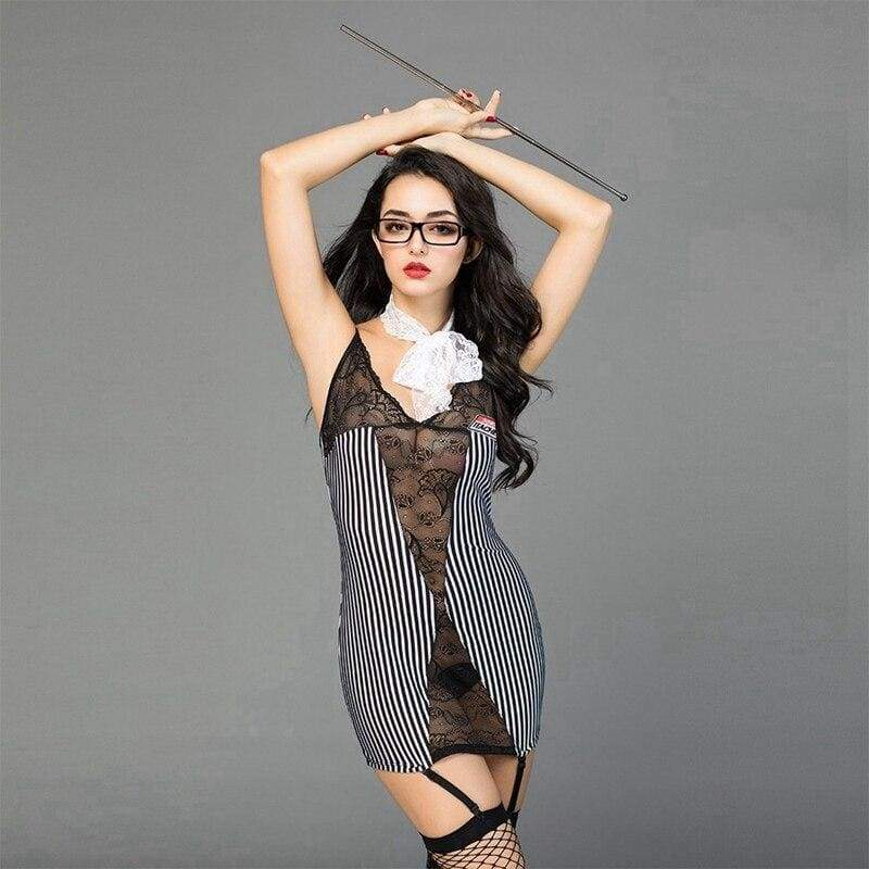 Secretary - Deluxe Sexy Lingerie Set With Glasses Frame Erotic Costume For Woman SL10
