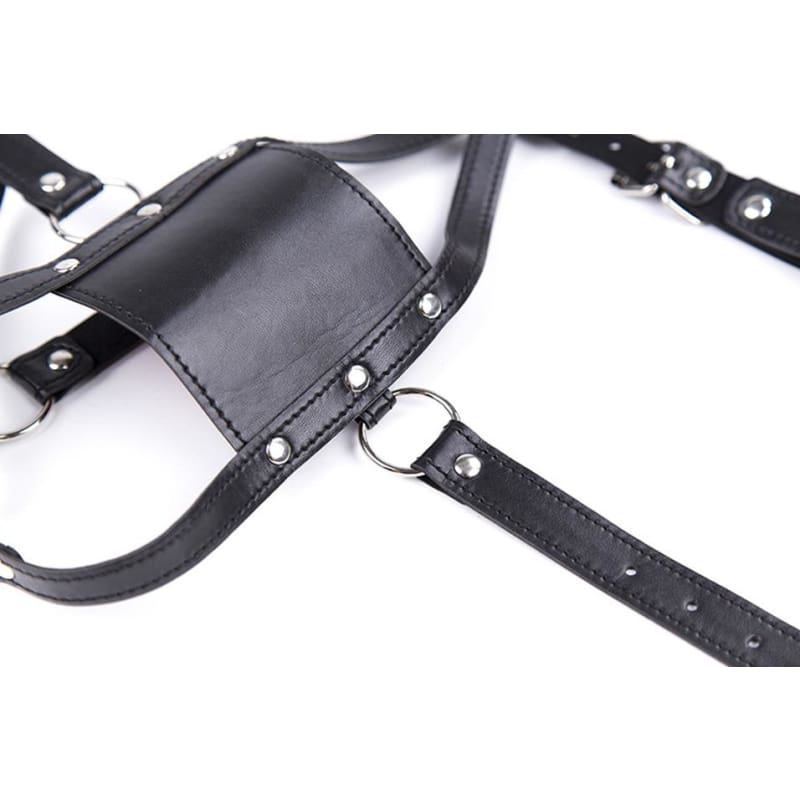 Silent - Silicone Mouth Gag Bondage Restraints PU Leather Open Mouth Ball Head Harness Fetish Mask With Oral Fixation