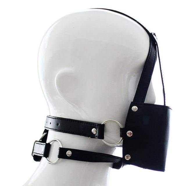Silent - Silicone Mouth Gag Bondage Restraints PU Leather Open Mouth Ball Head Harness Fetish Mask With Oral Fixation - Black
