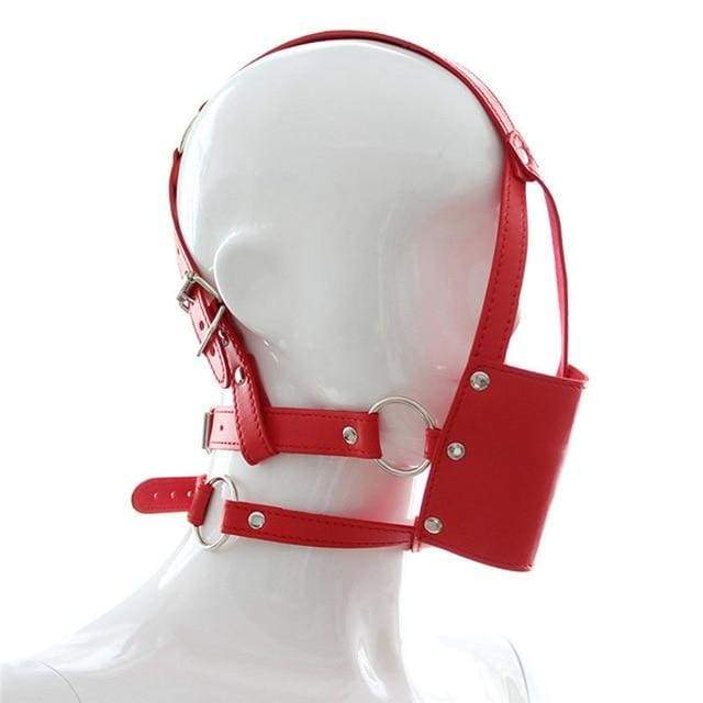 Silent - Silicone Mouth Gag Bondage Restraints PU Leather Open Mouth Ball Head Harness Fetish Mask With Oral Fixation - Red
