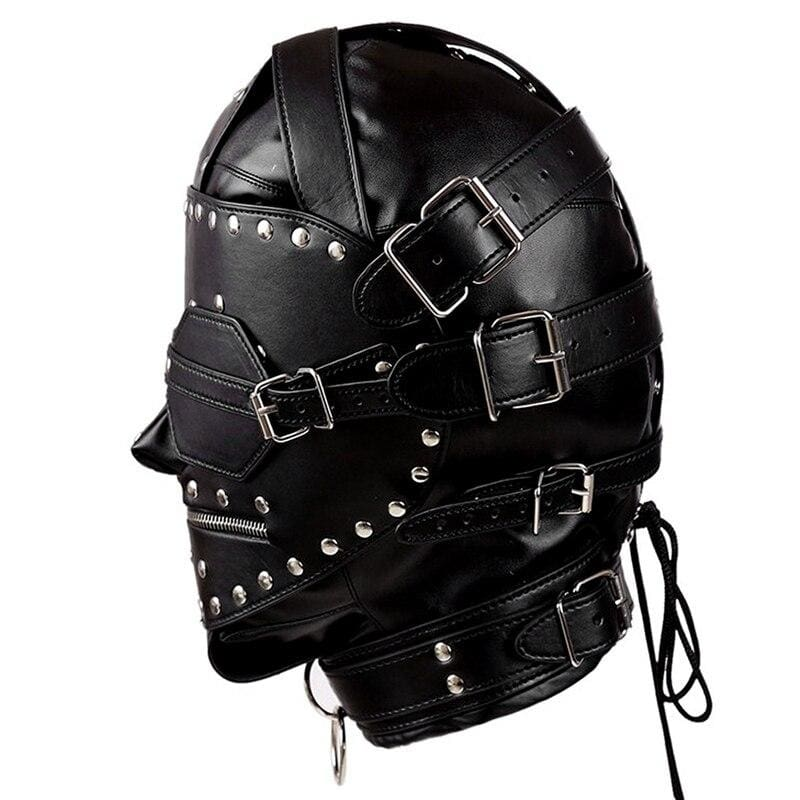 Steampunk Knight - Unisex Leather Rivet Mask With Mouth Zip&Collar Handcraft Blindfold Open Mouth Slave Bondage