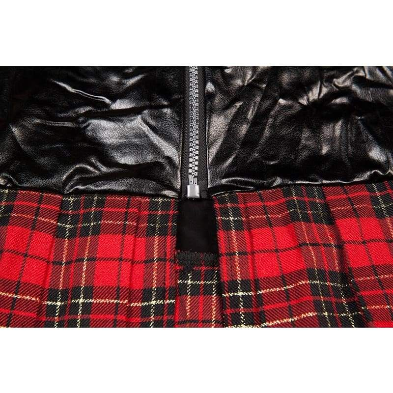 Student Plus Size - Faux Leather and Plaid Skirt Erotic Costumes Sex Uniform XL