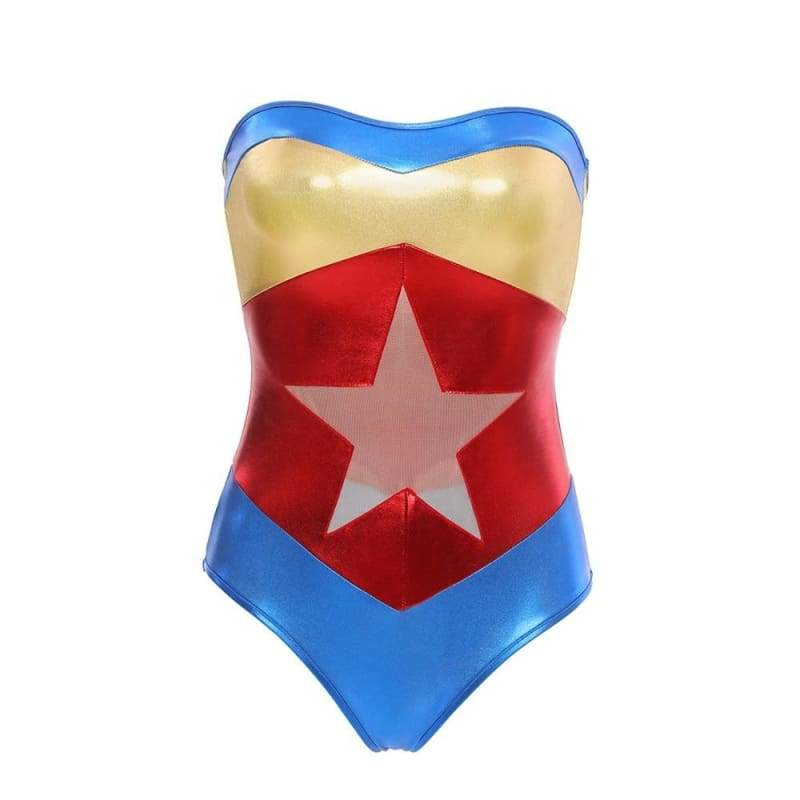 Superhero - Marvel Theme PU Bodysuit Wonder Woman Uniform Strapless Latex Costume