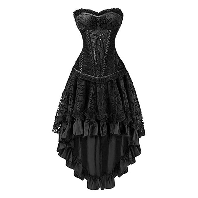 Victorian Corset + Skirt - Vintage Aristocrat Dress Sexy Gothic Clothing Bustier Skirt Set - Black / S