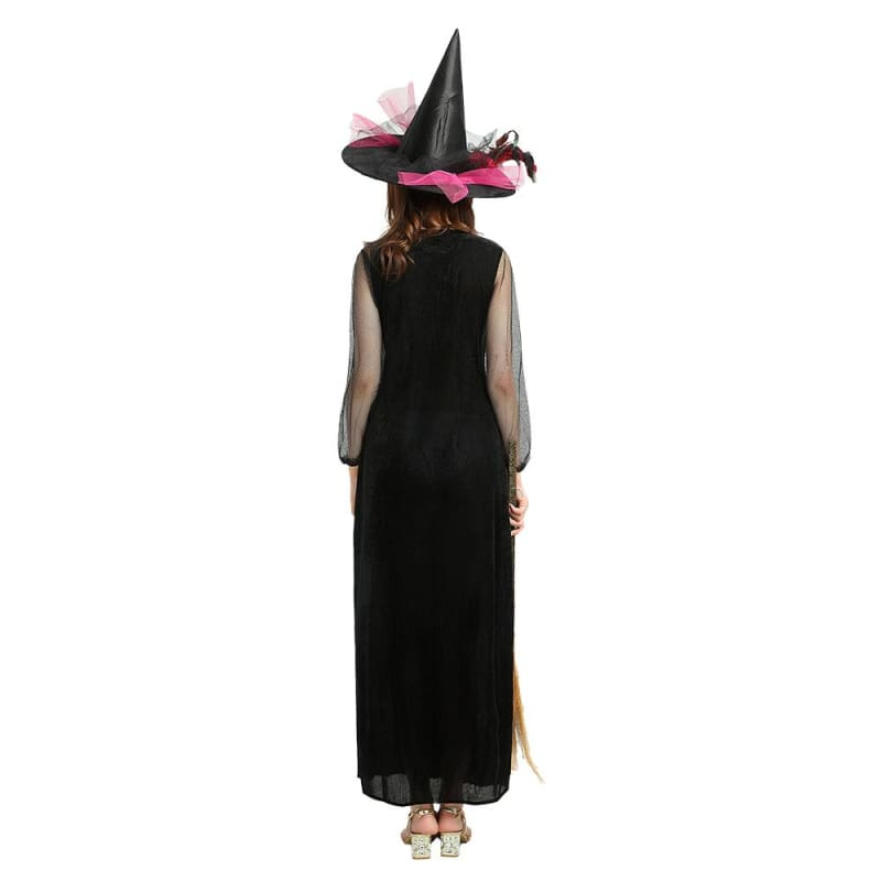 Witch - Halloween Socerress Role-Playing Long Sleeve Dress With Hat & Besom