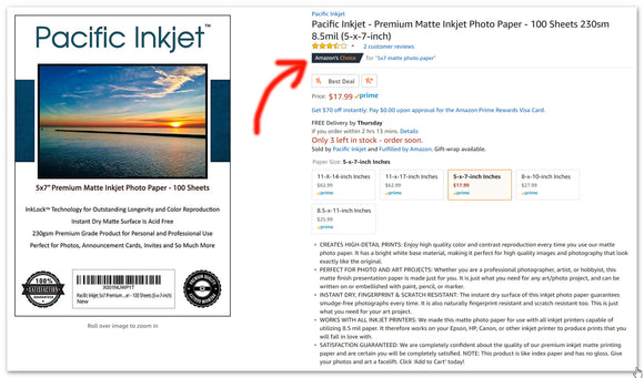 Amazon Recommends Pacific Inkjet