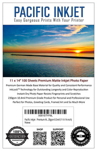 "11x14"" - Premium Matte Inkjet Photo Paper - 100 Sheets 230gsm 10.4mil"