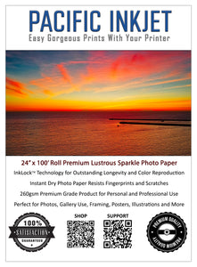 "24"" x 100' Ft Roll - Premium Lustrous Sparkle Inkjet Printer Photo Paper 260gsm 10mil"
