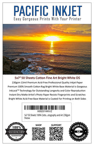 "5x7"" 50-Sheets 100% Cotton Fine Art Matte Bright White Double Sided Inkjet Paper 230gsm"