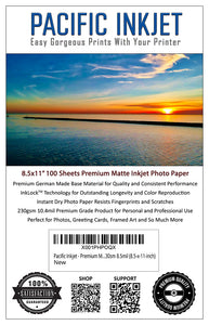 "8.5x11"" - Premium Matte Inkjet Photo Paper - 100 Sheets 230sm 10.4mil"