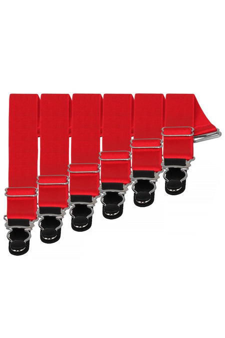 6 x Steel Suspender Clips In Red
