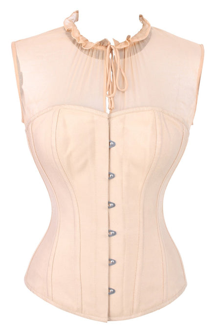 Beige Overbust Sleeveless Corset Top