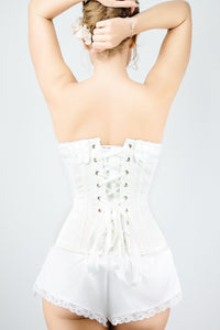 Ivory Historic Inspired Overbust Corset With White Lace