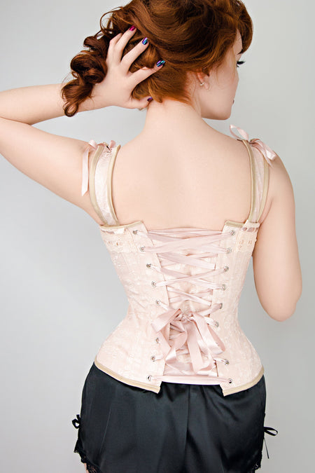 Luxurious Victorian Inspired Dusty Pink Overbust Angled Panels And Shoulder Straps