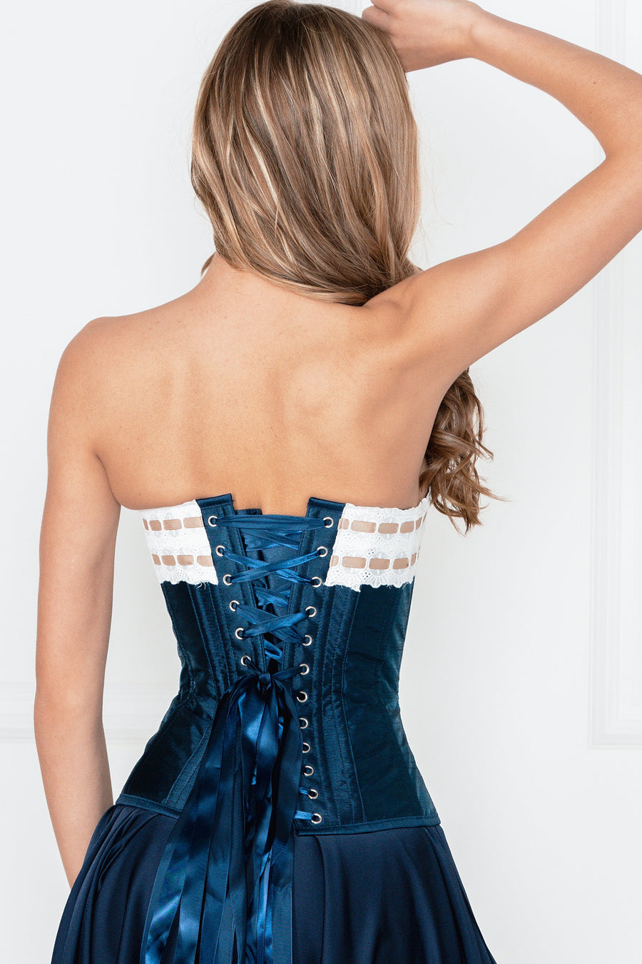 Midnight Blue And Ivory Overbust With Double Layer Lace