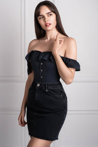 Black Cotton Straight Bustline Corset Top With Off The Shoulder Sleeves