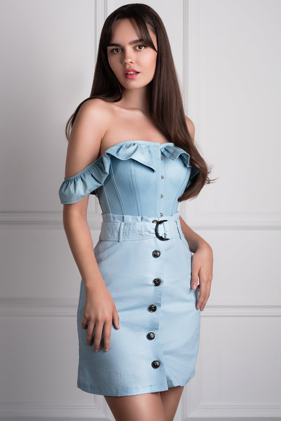 9988401decd540 Denim Straight Bustline Corset Top With Off The Shoulder Sleeves ...