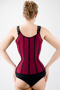 Corset Story Burgundy Latex Underbust Corset with adjustable Bra Straps