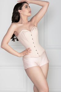 Pinky Beige Cotton Twill Classic Overbust Waist Trainer With Hip Gores