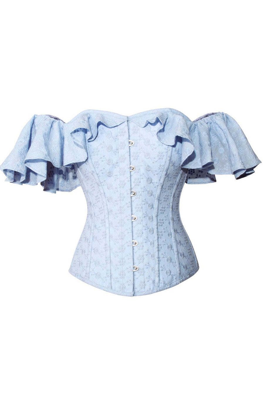 Pastel Cornflower Blue cotton corset top with dramatic sleeve