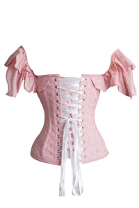 Pink cotton embroidery anglaise corset top