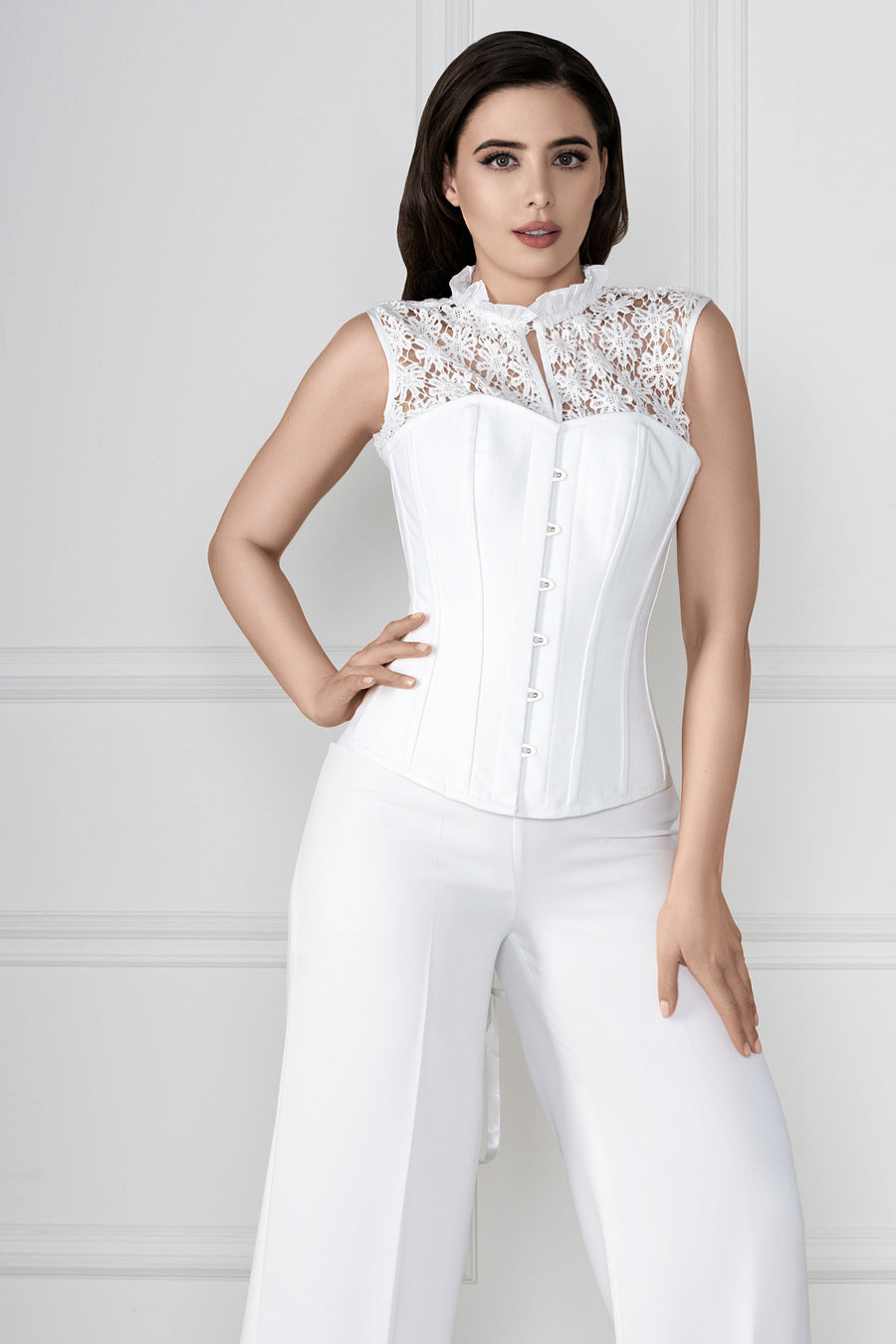 Floral Embroidered White Corset Top
