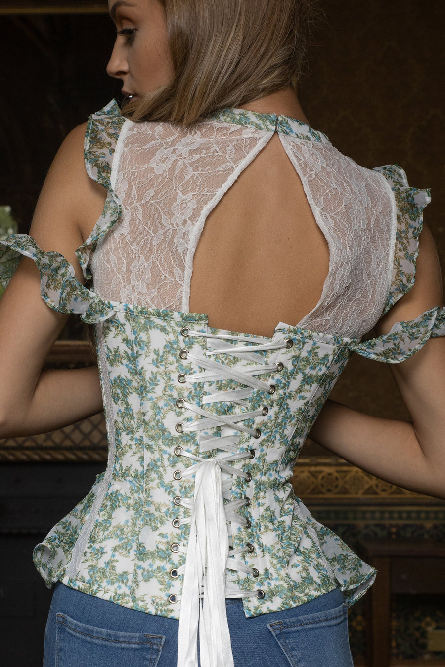 Floral Lace Panelled Corset Top