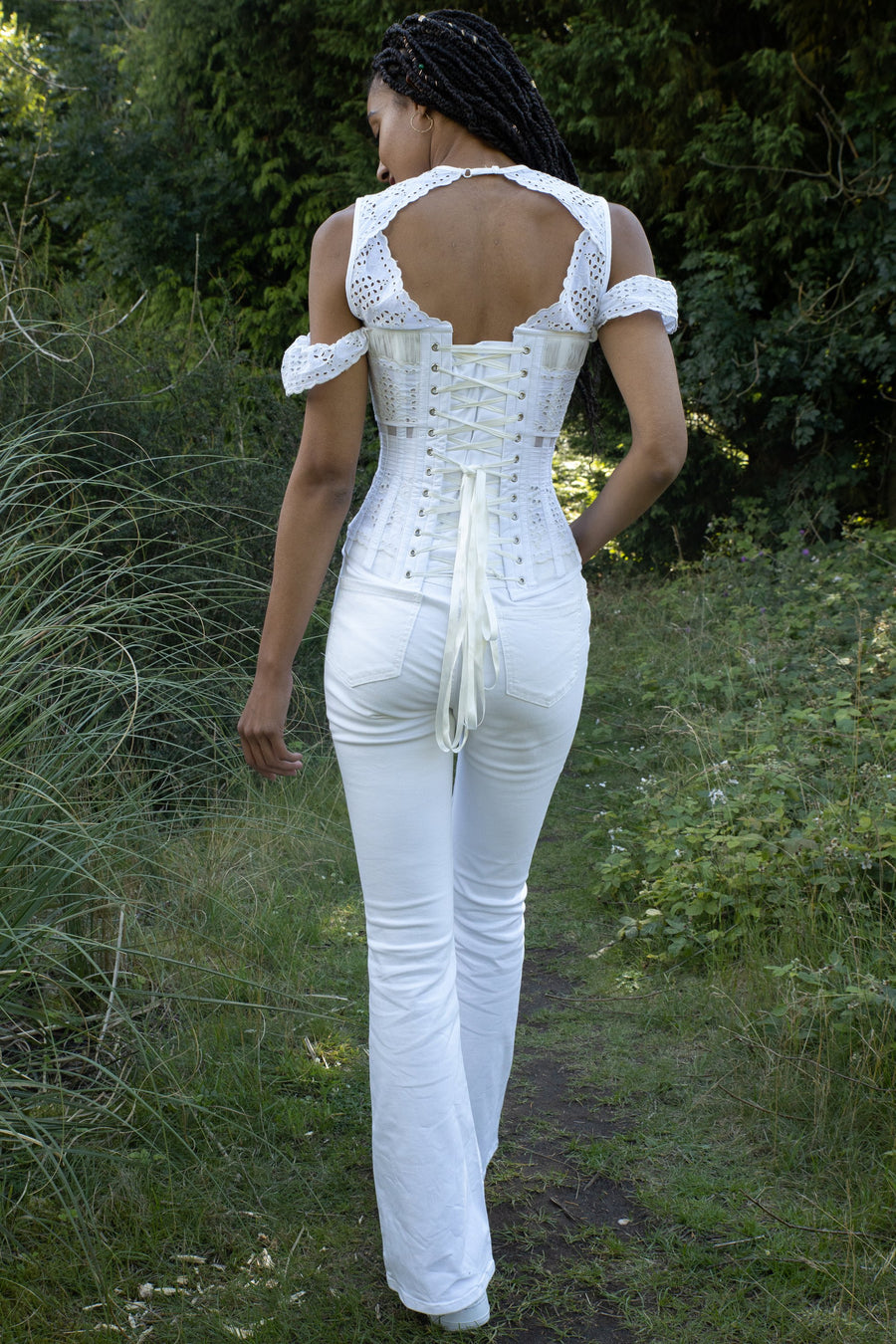 White Laser Cut Mesh Summer Corset Top