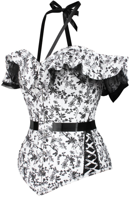 Monochrome Floral Corset Top with Hip Detail