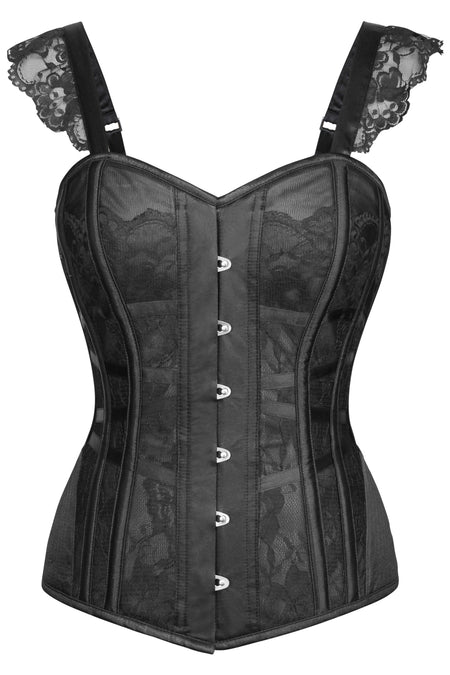 Lingerie Inspired Black Overbust Corset With Shoulder Straps