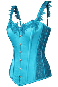 Satin Aqua Blue Corset With Shoulder Straps