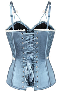 Antique Dusky Blue Satin Overbust Corset
