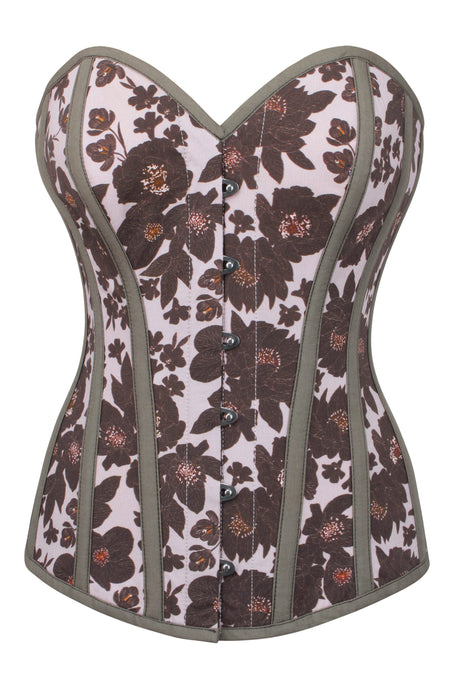 Muted Floral Longline Overbust Corset