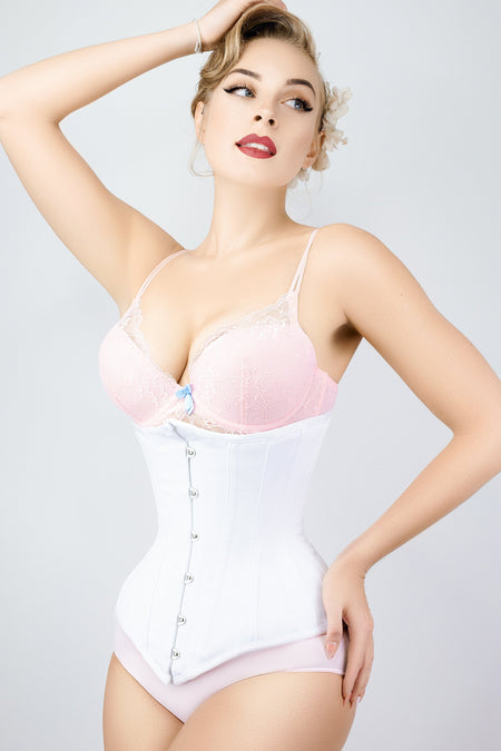Long White Underbust Corset Waist Taming