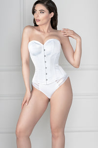 Waist Taming Classic White Overbust Corset With Hip Gores
