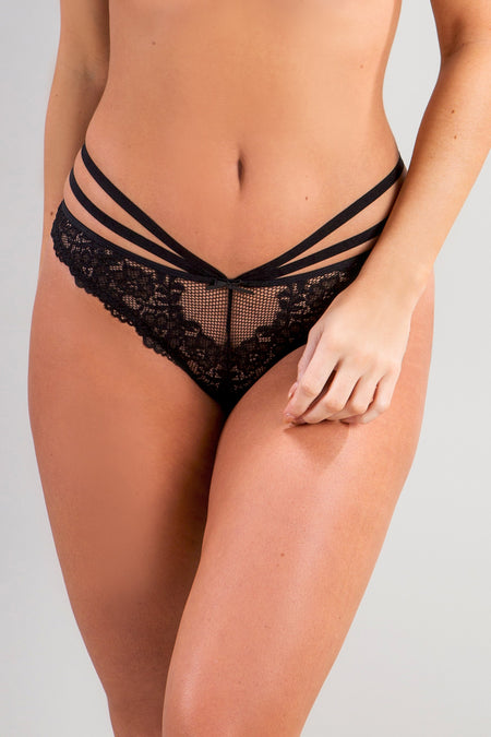 Pour Moi - Strapped Brazilian Brief - Black