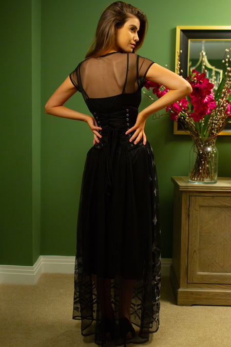 Full-Length Black Tulle Evening Dress