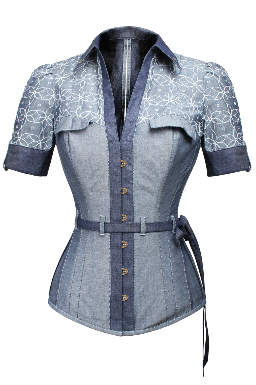 Blue Denim Corset Shirt with Elasticated Back