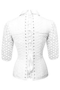 White Cotton Corset Shirt with 3/4 Length Sleeves