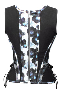 Zip Back Steel Corset with Shoulder Straps and Adjustable Hip Panels
