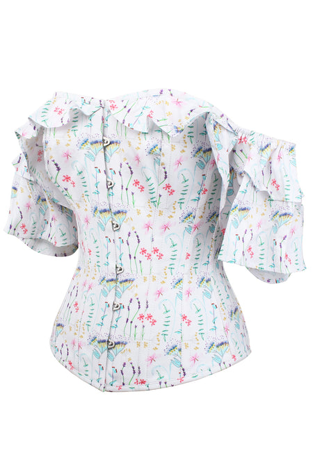 Pressed Floral Print Corset Top With Frilled Sleeve