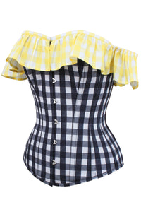 Yellow and Black Contrast Gingham Corset Top With Bardot Sleeve