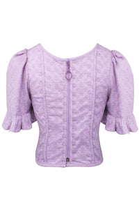 Lilac Cotton Summer Corset Top with Ruffle Sleeve