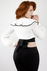 White Cropped Long Sleeved Wrap Blouse