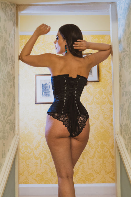 Black Waist Training Overbust Corset