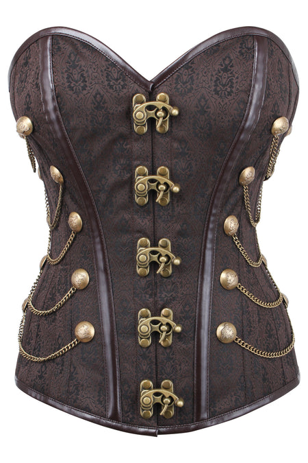 BROWN WAIST TAMING STEAMPUNK CORSET WITH CHAINS