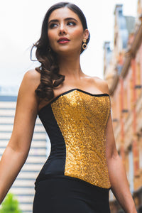 GOLD SEQUIN AND BLACK SATIN INSTANT SHAPE OVERBUST