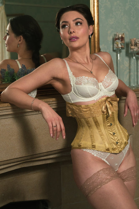 Gold Satin Bridal Corset with Super Fine Mesh Panels